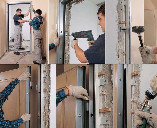монтаж входных двереи в доме